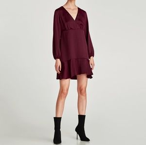 Zara Burgundy V-Neck Ruffle Dress